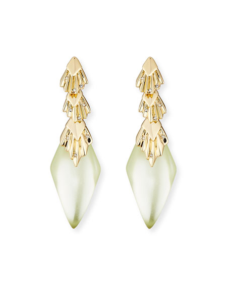 Alexis Bittar Pleated Crystal-Studded Drop Earrings