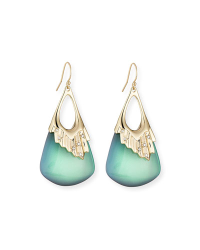 Pleated Green Lucite Drop Earrings