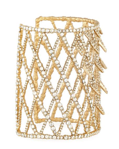 Crystal Lattice Cuff Bracelet, Golden