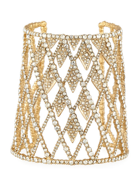 Alexis Bittar Crystal Lattice Cuff Bracelet, Golden