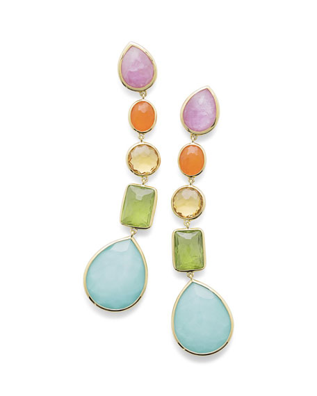 18K Rock Candy® 5-Stone Linear Earrings in Rainbow