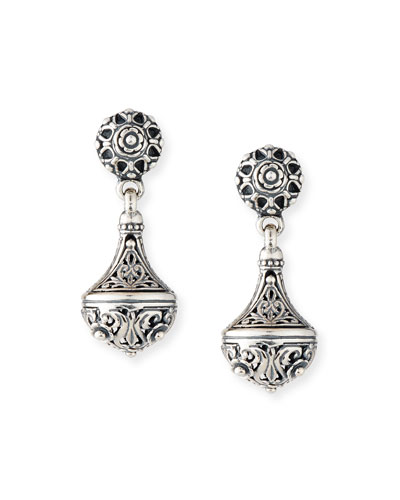 Carved Sterling Silver Drop Earrings