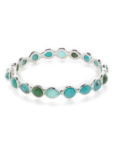 Rock Candy® Sterling Silver All Around Hinged Bangle in Blue/Brown