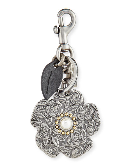 Willow Floral Tooled Bag Charm, Silver
