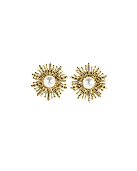 Pearly Sun Star Pierced Earrings