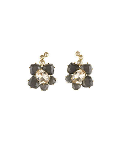 Faceted Resin Flower Clip-On Earrings