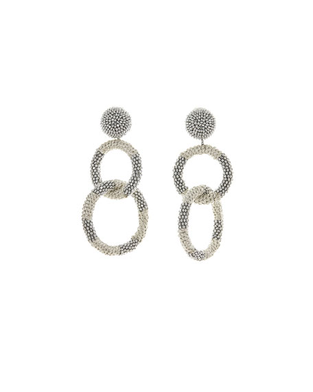 Oscar de la Renta Beaded Two-Hoop Drop Clip-On