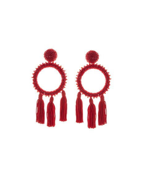 Large Beaded Circle Tassel Clip-On Earrings, Dark Red