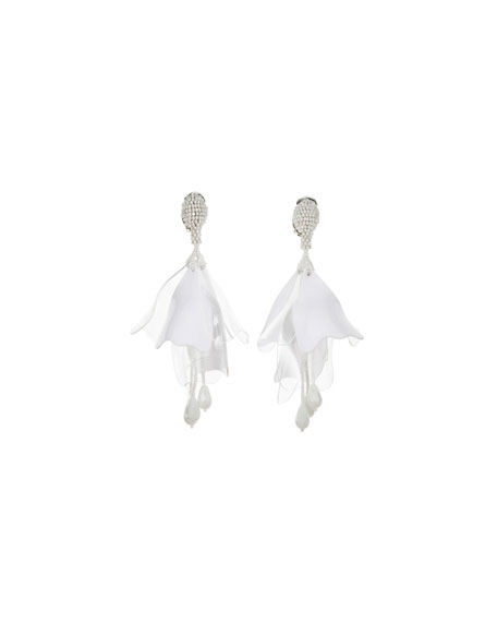 Impatiens Flower Drop Earrings, Opaque White
