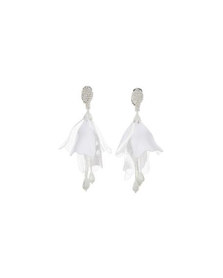 Impatiens Flower Drop Earrings, Opaque White