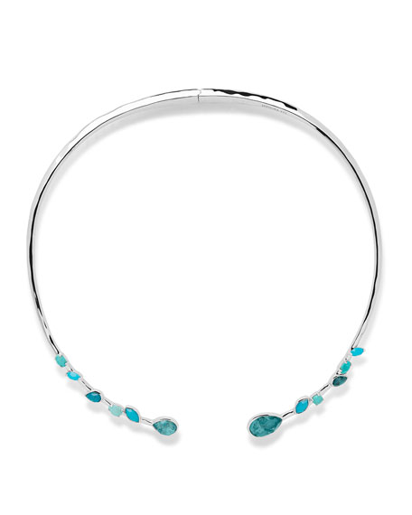 """925 Rock Candy Double Mixed Stone Stations Hinged Collar Necklace in Turquoise, 15-16"""""""