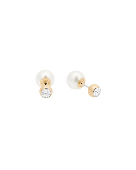 Modern Classic Pearly Front-Back Stud Earrings, Yellow/White