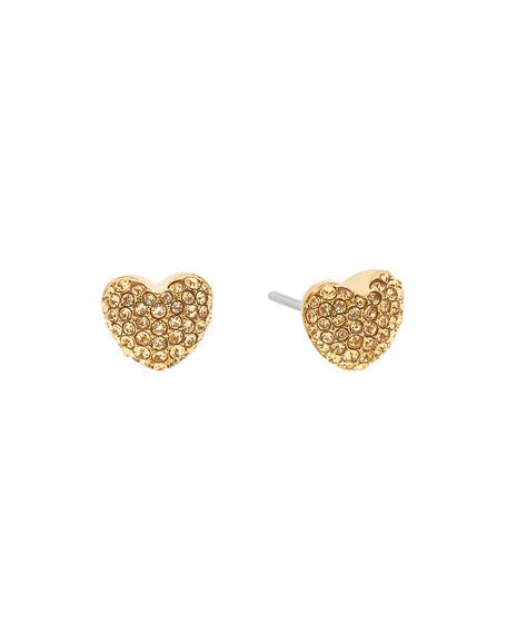 Michael Kors Pavé Hearts Crystal Stud Earrings, Yellow