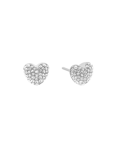 Pavé Hearts Crystal Stud Earrings, Silvertone