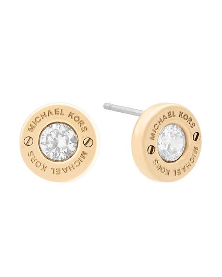 Haute Hardware Crystal Stud Earrings, Yellow