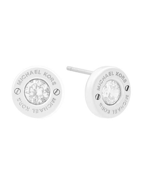 Haute Hardware Crystal Stud Earrings, Silvertone