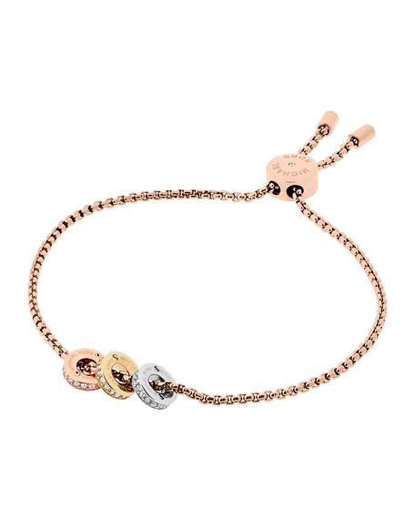 Haute Hardware Crystal Chain Bracelet, Rose Golden