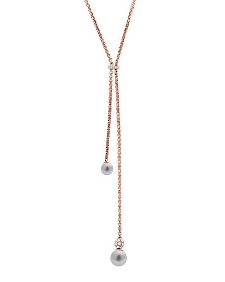 Modern Classic Pearly Tassel Necklace, Rose Golden