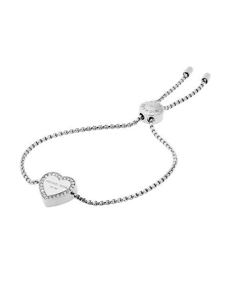 Logo Heart Station Bracelet, Silvertone