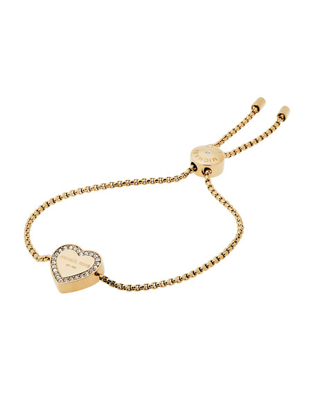 Logo Heart Station Bracelet, Yellow Golden