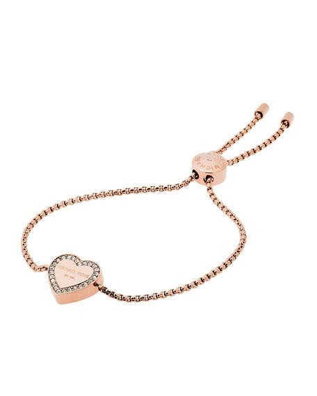 Logo Heart Station Bracelet, Rose Golden