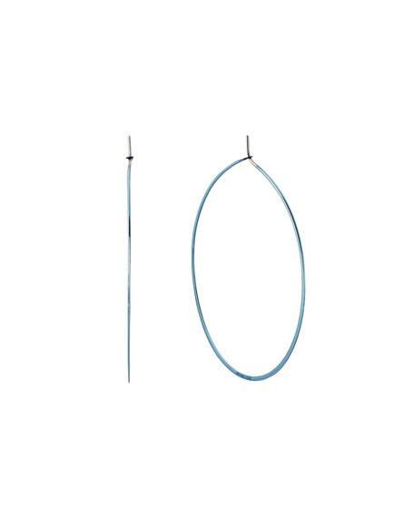 Polished Platings Blue IP Hoop Drop Earrings