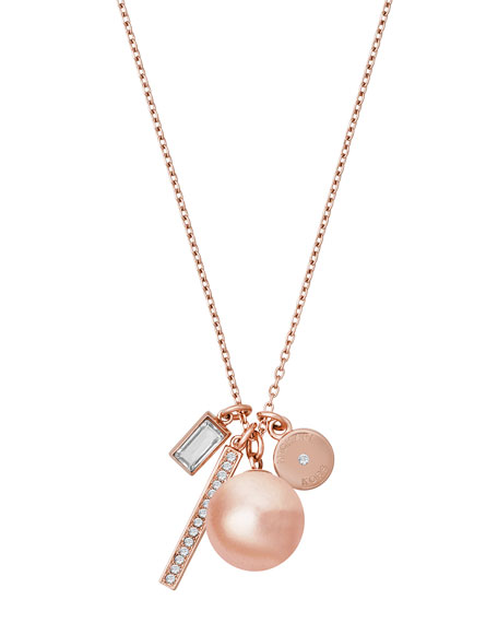 Modern Classic Mixed Charm Necklace, Rose Golden