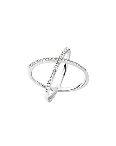 michael kors jewelry outlet online 8g2w  Pav茅 Crystal Crisscross Ring