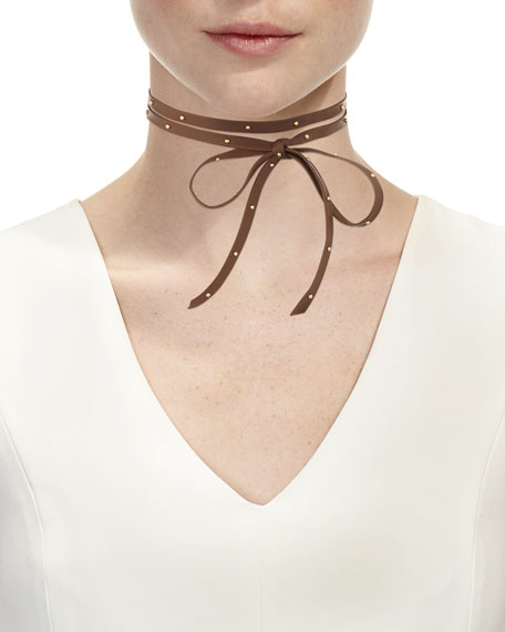 Hammered Stud Leather Wrap Choker Necklace