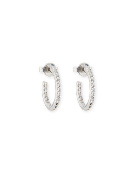 FANTASIA BY DESERIO Tiny Inside-Out Cz Hoop Earrings in Clear