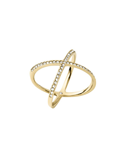 Pave Crystal Crisscross Ring, Yellow Golden