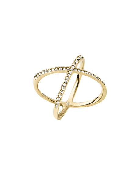 Michael Kors Pave Crystal Crisscross Ring, Yellow Golden