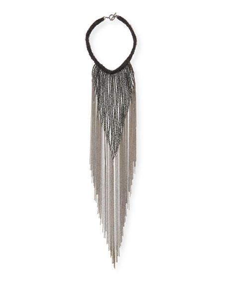 Brunello Cucinelli Monili Waterfall Necklace with Mohair Collar