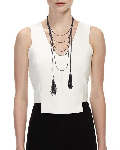 Beaded Black Agate Tassel Necklace