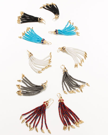Beaded White Tassel Drop Earrings