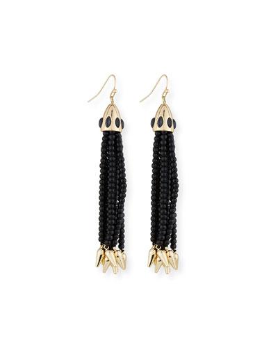 Beaded Black Tassel Drop Earrings