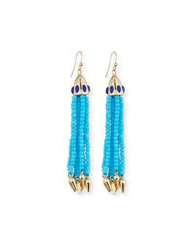 Beaded Blue Tassel Drop Earrings