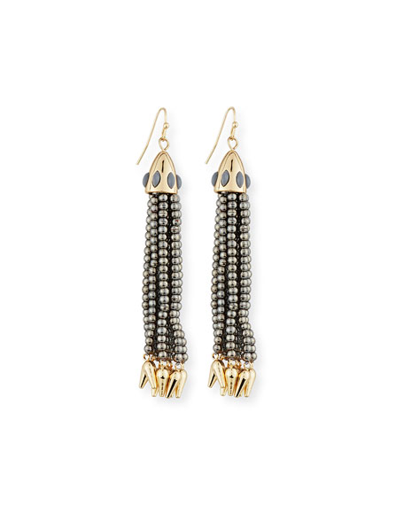 Lulu Frost Beaded Metallic Tassel Drop Earrings