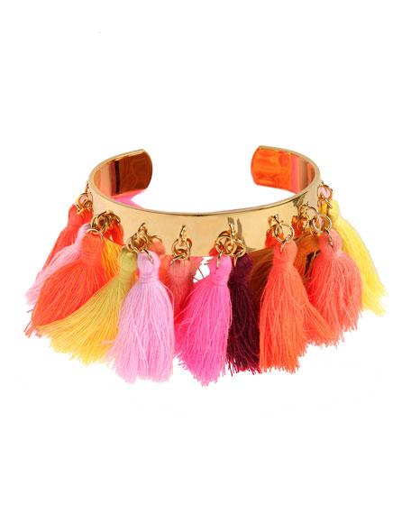 Mignonne Gavigan Lily Tassel Trim Cuff Bracelet Pink
