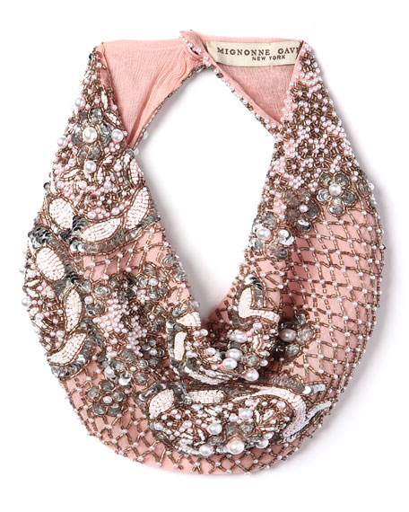 Mignonne Gavigan Le Charlot Beaded Scarf Necklace, Pink
