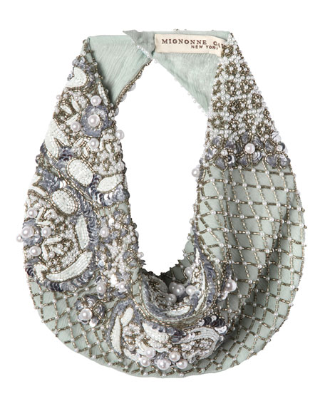 Le Charlot Beaded Scarf Necklace, Light Blue