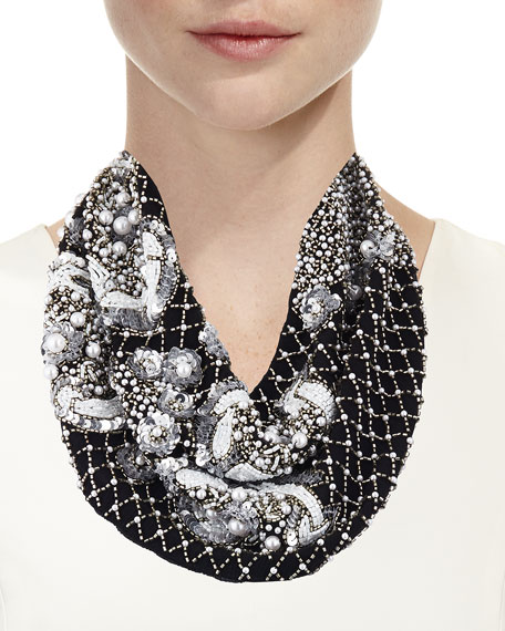 Le Charlot Beaded Scarf Necklace, Black