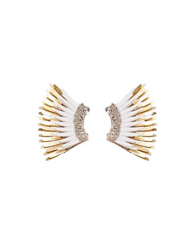 Mini Madeline Statement Earrings, White/Golden