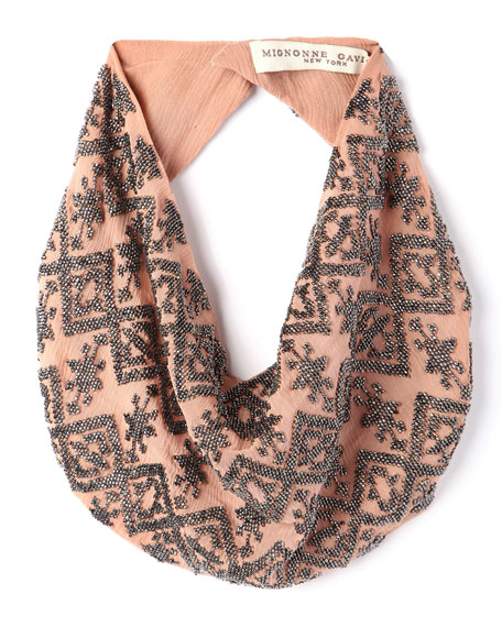 Dakota Silk Chiffon Scarf Necklace, Nude