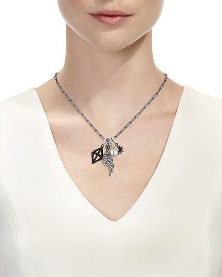 Crystal Star & Wing Charm Necklace