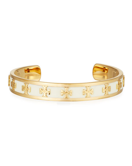 Slim Raised Logo Enamel Cuff Bracelet by Tory Burch
