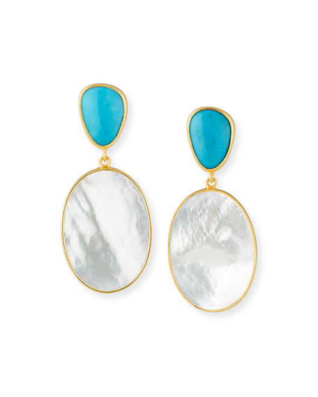 Dina Mackney Turquoise & Mother-of-Pearl Double-Drop Earrings