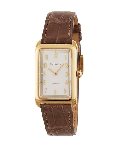 The Muldowney 24mm Alligator Strap Watch  Brown/Cream