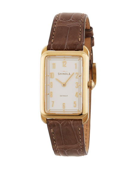 The Muldowney 24mm Alligator Strap Watch, Brown/Cream