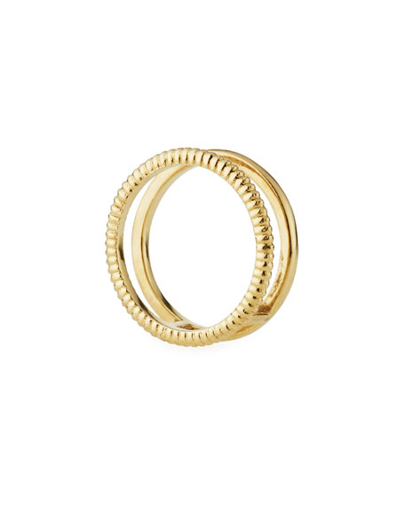 Illusion Stacked 14K Gold Coin-Edge Ring